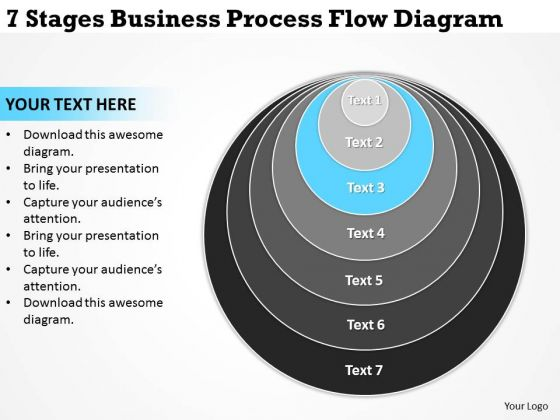 Stages Business Process Flow Diagram Plan Template For PowerPoint Slides