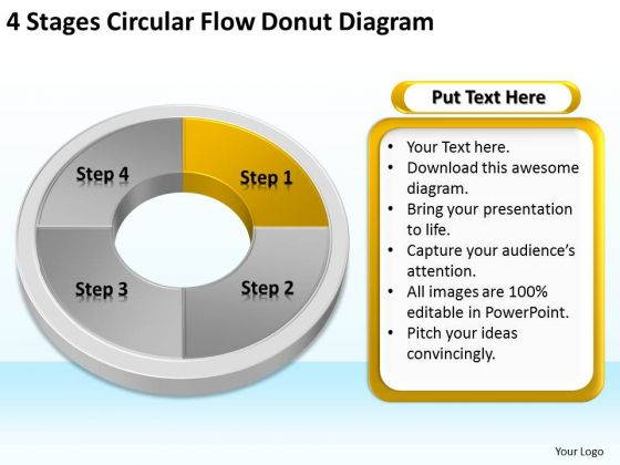 Stages Circular Flow Donut Diagram Template For Business Plan PowerPoint Templates
