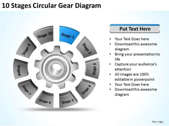 Stages Circular Gear Diagram Examples Of Business Plans For Small PowerPoint Slides