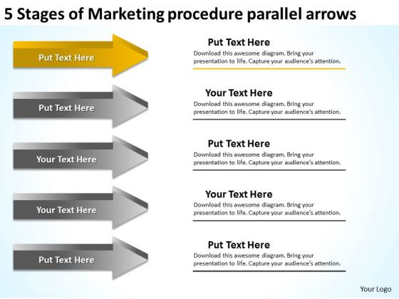 Stages Of Marketing Procedure Parallel Arrows Business Plan Components PowerPoint Templates