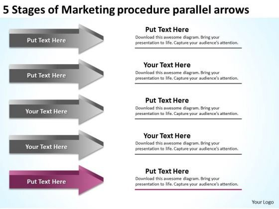 Stages Of Marketing Procedure Parallel Arrows Ppt Business Action