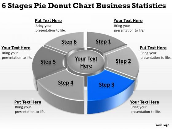 Stages Pie Donut Chart Business Statistics How To Write Up Plan PowerPoint Slides