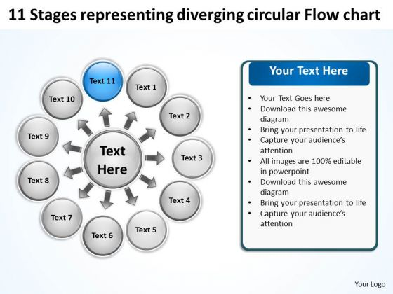 Stages Representing Diverging Circular Flow Chart Ppt 12 Cycle Layout Process PowerPoint Templates