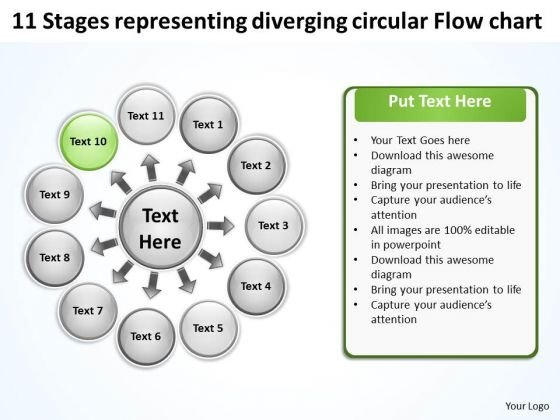 Stages Representing Diverging Circular Flow Chart Ppt Network PowerPoint Slides