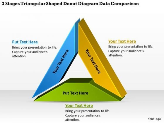 Stages Triangular Shaped Donut Diagram Data Comparison It Business Plan PowerPoint Templates