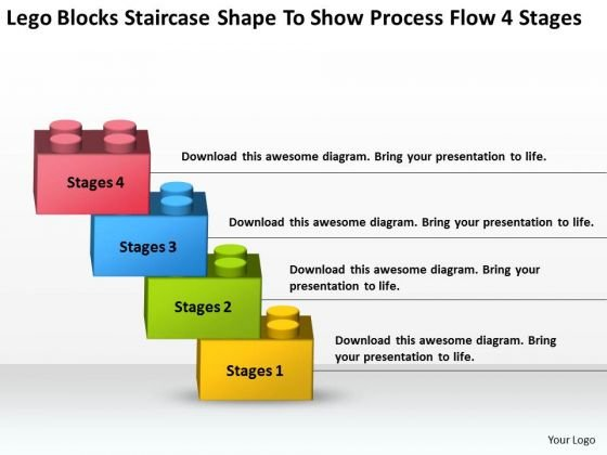 Staircase Shape To Show Process Flow 4 Stages Ppt Business Plans Write PowerPoint Slides