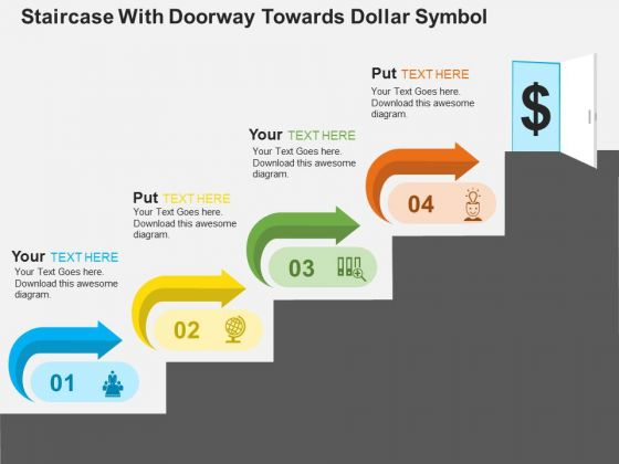Staircase With Doorway Towards Dollar Symbol PowerPoint Templates
