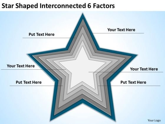 Star Shaped Interconnected 6 Factors Ppt Business Continuity Plan Template PowerPoint Slides