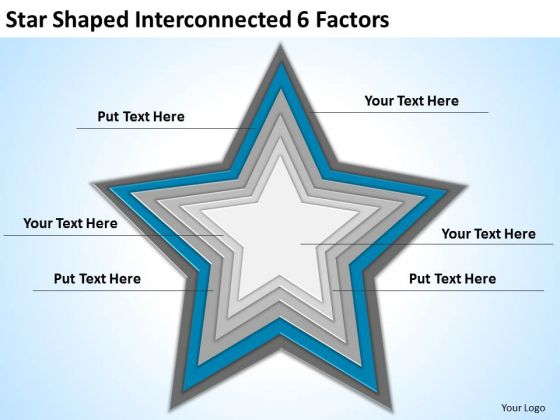 Star Shaped Interconnected 6 Factors Ppt Business Plan Consultant PowerPoint Slides