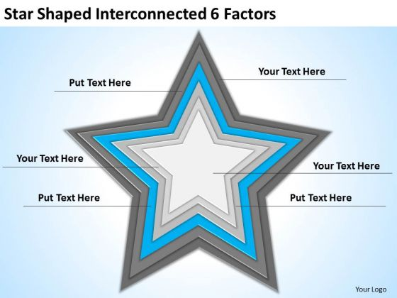 Star Shaped Interconnected 6 Factors Ppt Business Plan Outline PowerPoint Templates