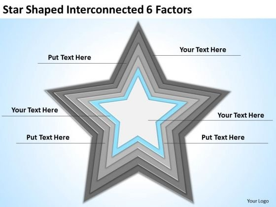 Star Shaped Interconnected 6 Factors Ppt Making Business Plan Template PowerPoint Templates