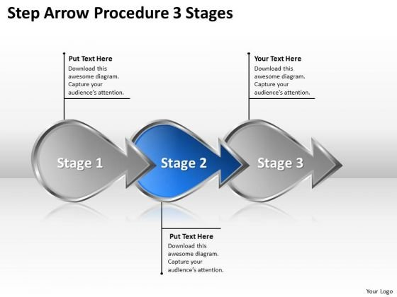Step Arrow Procedure 3 Stages Business Plan Writers PowerPoint Templates
