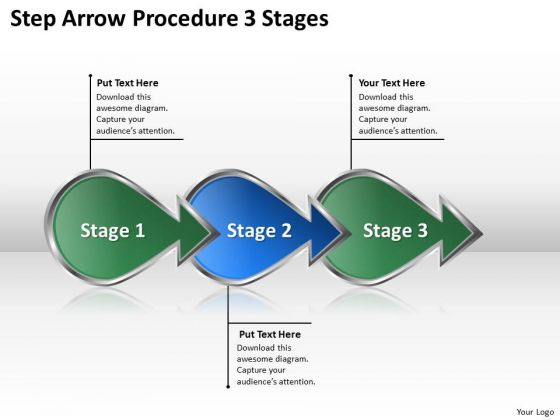 Step Arrow Procedure 3 Stages Po Process Flow Chart PowerPoint Slides