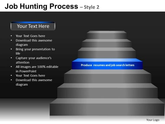 Step Diagram For PowerPoint With Editable Stairs