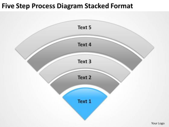 Step Process Diagram Stacked Format Sample Business Plans Templates PowerPoint Slides