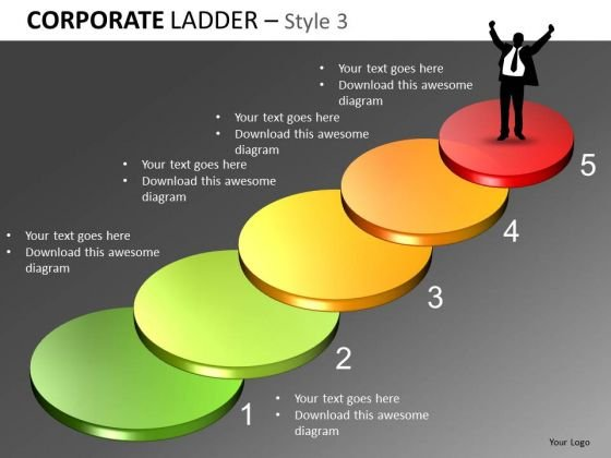 Step Up Corporate Stairs PowerPoint Slides