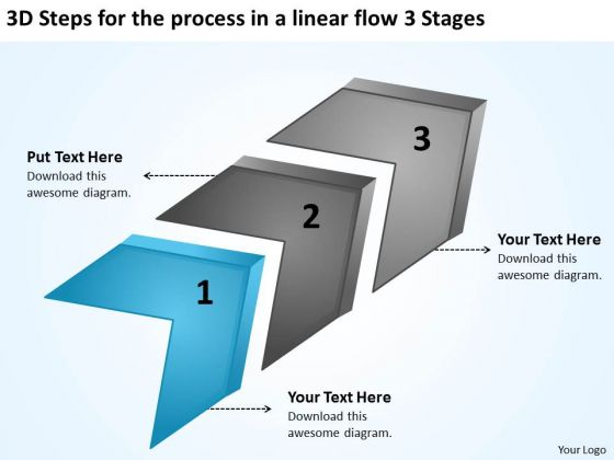 Steps For The Process In A Linear Flow 3 Stages Samples Of Business Plans PowerPoint Slides