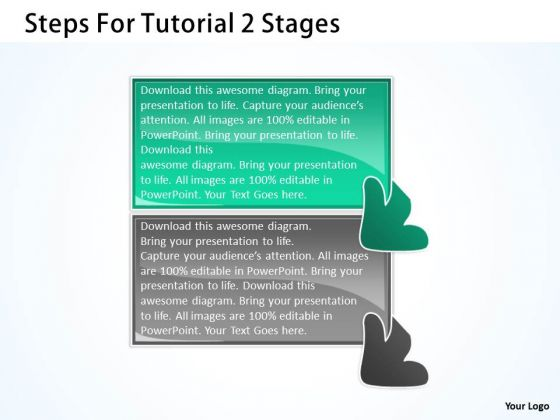 Steps For Tutorial 2 Stages Customer Flow Chart PowerPoint Templates