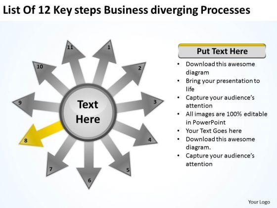 Steps Free Business PowerPoint Templates Diverging Processes Radial Chart Slides