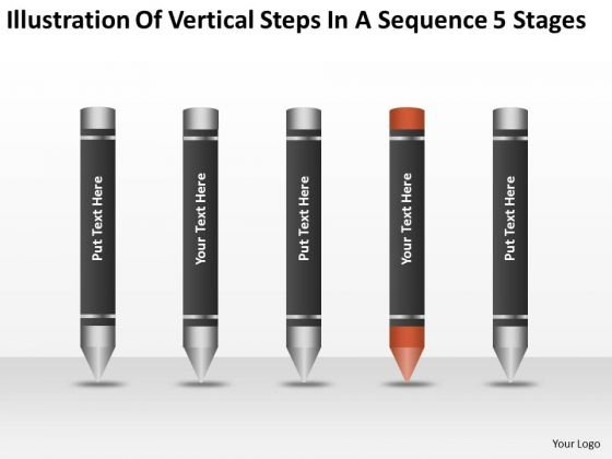 Steps In A Sequence 5 Stages Ppt 4 Sample Mission Statements For Business Plan PowerPoint Slides