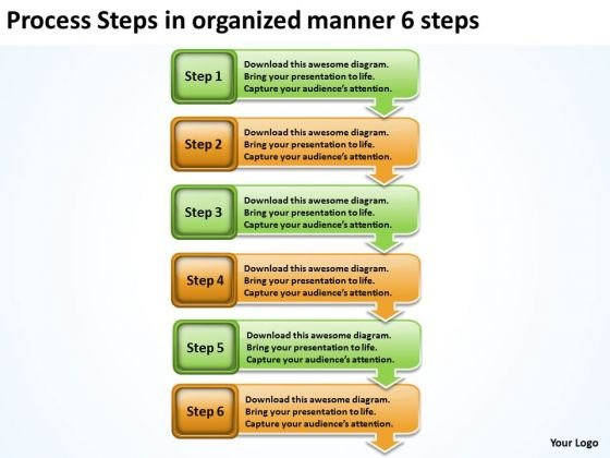 Steps In Organized Manner 6 Example Of Small Business Plan PowerPoint Templates
