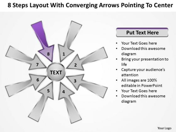 Steps Layout With Converging Arrow Pointing To Center Ppt Charts And Diagrams PowerPoint Slides