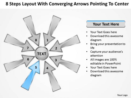 Steps Layout With Converging Arrows Pointing To Center Charts And Diagrams PowerPoint Slides