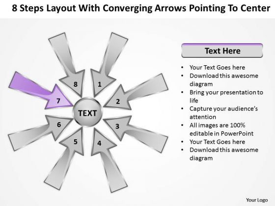 Steps Layout With Converging Arrows Pointing To Center Ppt Charts And Diagrams PowerPoint Slides