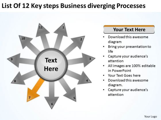 Steps New Business PowerPoint Presentation Diverging Processes Cycle Chart Slides