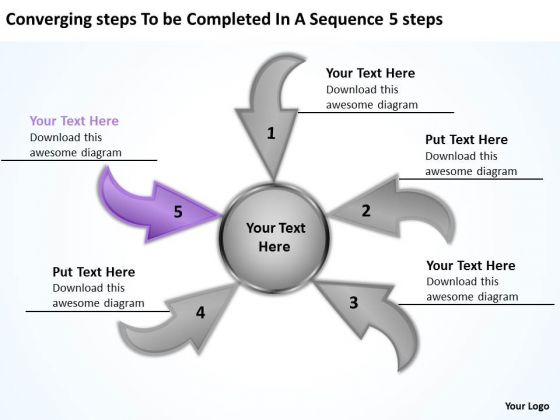 Steps To Be Completed In A Sequence 5 Circular Flow Chart PowerPoint Slides