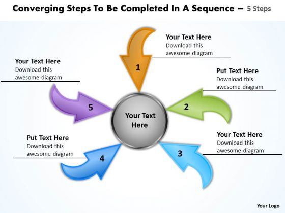 Steps To Be Completed In A Sequence 5 Relative Cycle Arrow Network PowerPoint Slides