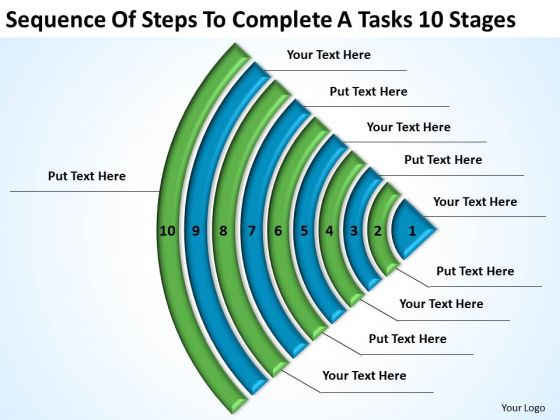 Steps To Complete A Tasks 10 Stages Ppt Free Business Plans Examples PowerPoint Templates