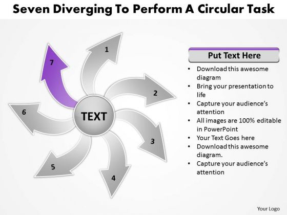 Steps To Perform A Circular Task Relative Arrow Chart PowerPoint Templates