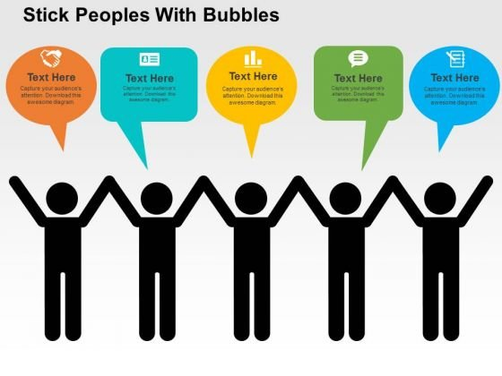 Stick Peoples With Bubbles PowerPoint Template