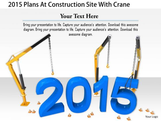 Stock Photo 2015 Plans At Construction Site With Crane PowerPoint Slide