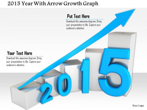 Stock Photo 2015 Year With Arrow Growth Graph PowerPoint Slide