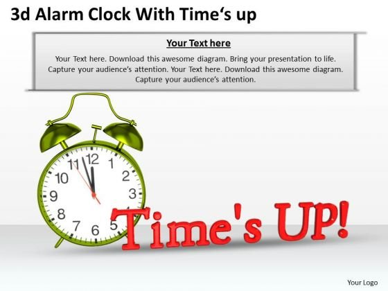 Stock Photo 3d Alarm Clock With Time Up Text PowerPoint Slide