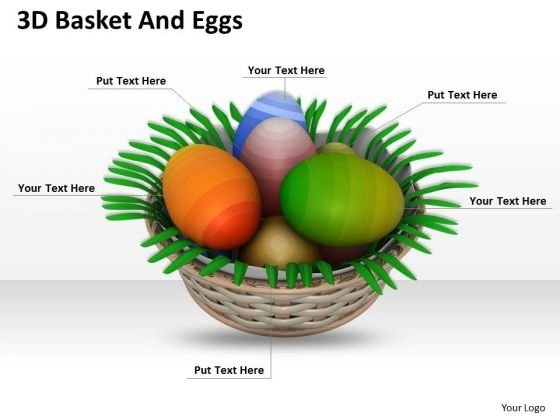 Stock Photo 3d Basket With Ester Eggs PowerPoint Slide