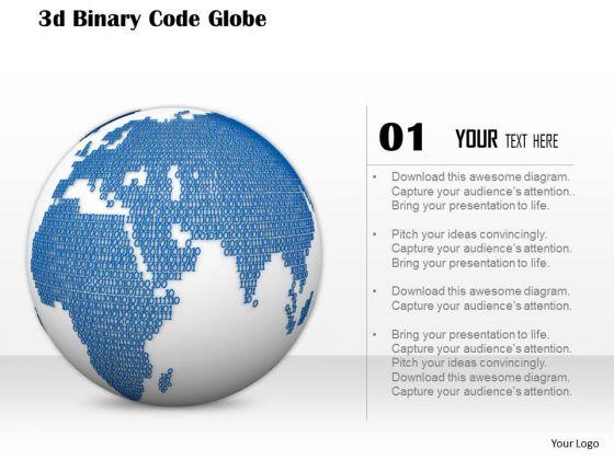 Stock Photo 3d Binary Globe Design PowerPoint Slide