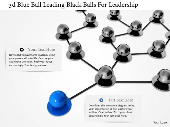 Stock Photo 3d Blue Ball Leading Black Balls For Leadership PowerPoint Slide