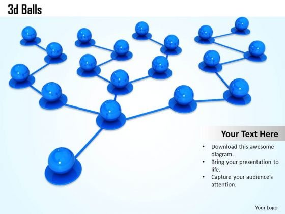 Stock Photo 3d Blue Balls Connected In Network PowerPoint Slide