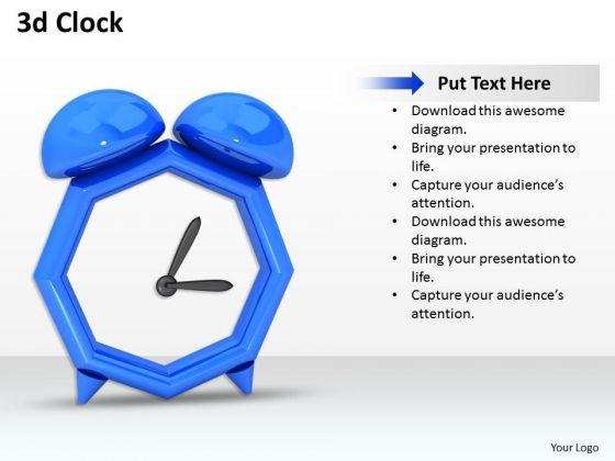 Stock Photo 3d Blue Color Alarm Clock PowerPoint Slide