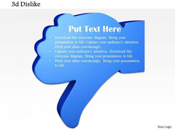Stock Photo 3d Blue Colored Dislike Symbol PowerPoint Slide