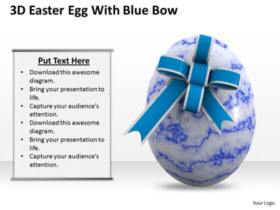 Stock Photo 3d Blue Ester Egg With Blue Bow PowerPoint Slide