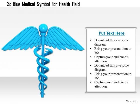 Stock Photo 3d Blue Medical Symbol For Health Field PowerPoint Slide