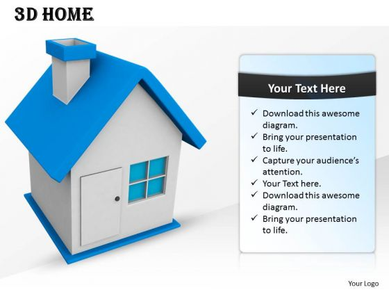 Stock Photo 3d Blue Roof Home For Real Estate PowerPoint Slide