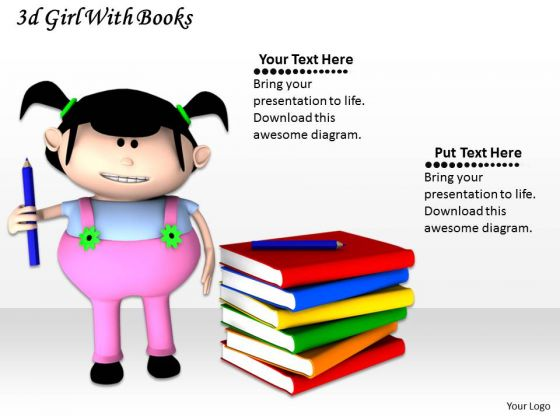 Stock Photo 3d Books And Girl Holding Pen PowerPoint Slide