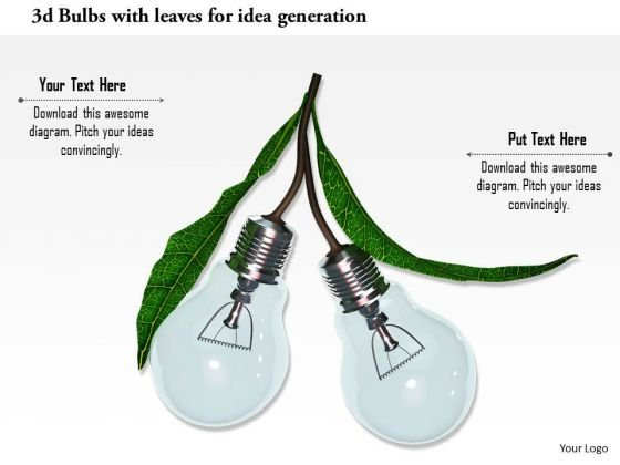 Stock Photo 3d Bulbs With Leaves For Idea Generation PowerPoint Slide