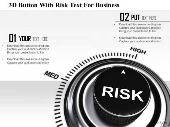 Stock Photo 3d Button With Risk Text For Business PowerPoint Slide