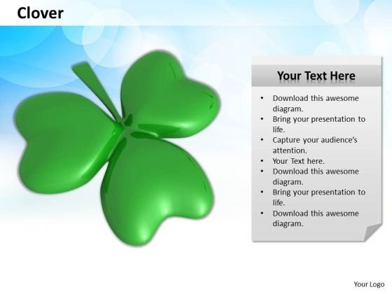 Stock Photo 3d Clover Leaf For Good Luck PowerPoint Slide